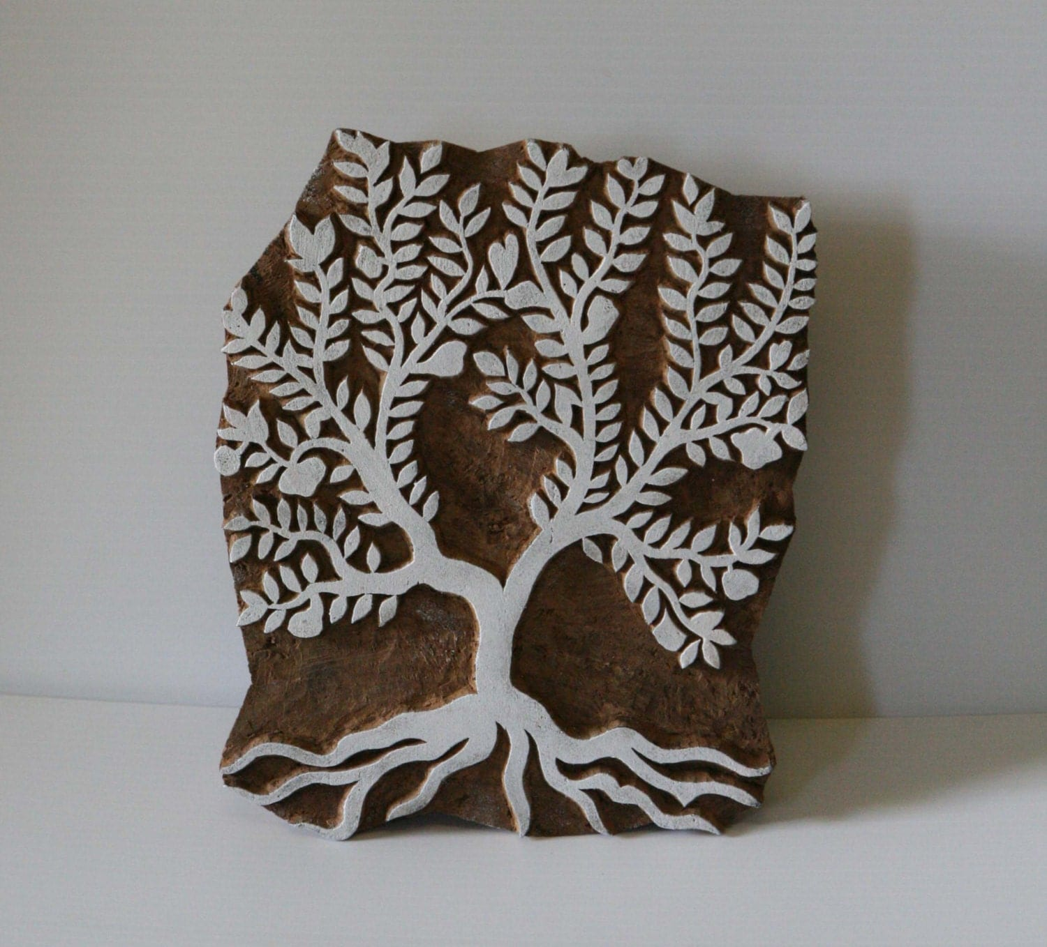 Hand carved apple tree stamp indian wood block