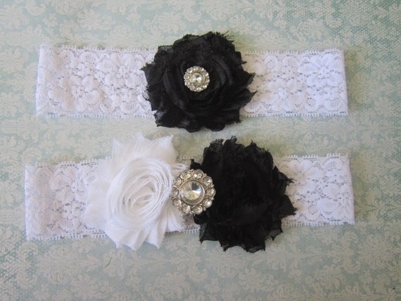 Black & White Wedding Garter Set - Choose Rhinestone or Pearl