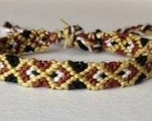 CLEARANCE - Owl Eyes - Black, Brown, Dark Yellow, & White - Friendship Bracelet