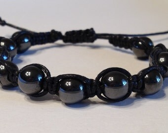 Dark Grey Hematite Beads on Black Waxed Cotton Bracelet