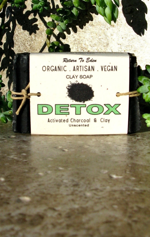 DETOX - organic, vegan, natural, artisan clay soap - activated charcoal and clay - UNscented