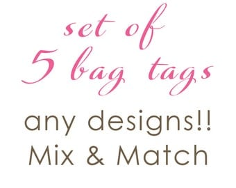 Luggage Tag | Set of 5 Personalized Bag/Luggage Tags | Choose from any design!!