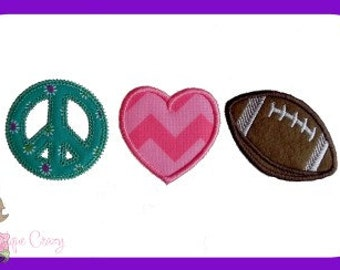 Peace, Love and Football Applique design 4 sizes vertical and horizontal