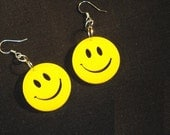 YELLOW SMILEY FACE Hipster Earrings Punk Emo Alternative