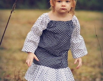 Peasant Dress Pattern for Girls, PDF Pattern, INSTANT DOWNLOAD, Long and Short Sleeve, Easy Dress Pattern, Tunic Pattern