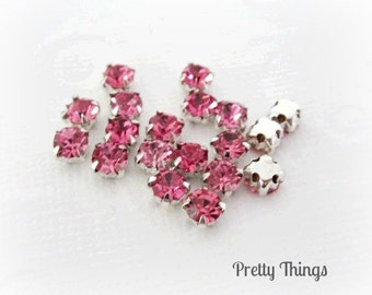 4mm Rose Pink Sew on Rhinestones -- 4MM-- Super Sparkly -- 50 pcs