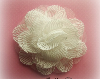 White Lace Flower. White Tulle Flower. 1 Piece.