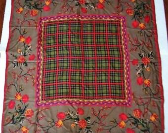 """Oscar de la Renta-- Vintage Silk Floral/Plaid Scarf 34"""" Square"""