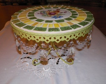 Broken China Mosaic Cake Stand with Vintage Plates and Stained Glass, mother's day gift