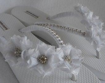White Bridal Flip-Flops / Wedding White Flip Flops / Flowers Flip Flops / Pearl - Rhinestones Flip Flops