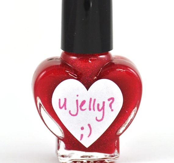 u jelly Red Glitter Nail Polish 5ml Mini Bottle