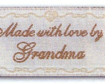 Sewing Labels, Made with Love By Grandma, Non Customizable Label for Sewing or Quilting, BL-LL2551