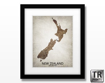 New Zealand Map Art Print - Home Is Where The Heart Is Love Map - Original Custom Map Art Print Available in Multiple Size and Color Options