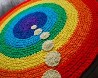 Rainbow handmade circle rug