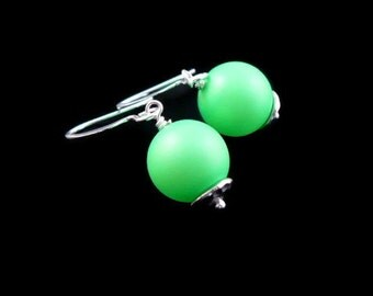 Neon Green Swarovski Pearl  Dangle Earrings, Hammered Beadcaps, Clip On Available, Other Colors Available, Gift Boxed