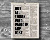 book page dictionary art print poster quote typography vintage decor inspirational motivational not all those who wander are lost