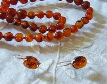 Lucite Amber bead single strand necklace earrings