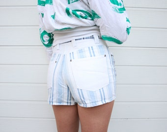 Vintage 90s High Waist White and Blue Shorts