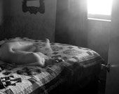Black and White Nude Self Portrait - Dark Mysterious Ethereal - 16x24 Original Fine Art Print - NatalieArriolaPhoto