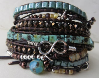 Bohemian Jewelry, Boho Turquoise Leather Wrap Bracelet, Beaded Leather Wrap Bracelet, Boho Leather Wrap, Five Wrap