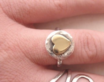 Rustic golden heart ring, Valentines day - Sterling Silver (925) Brass