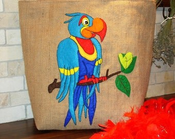 Blue parrot summer jute tote bag, handmade beach tote bag,embroidered, applique, unique, beach bag