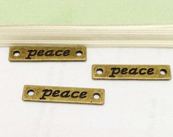 "Peace Charms -30pcs Antique Bronze the word "" peace "" Connector Charm Pendants for Bracelets 5x25mm E507-2"