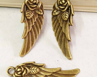 Wing Charms -20pcs Antique Bronze Wings with Flower Charm Pendant 11x31mm C101-3