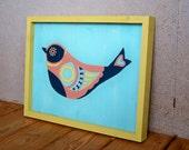Reclaimed Wood Geometric Bird Painting