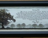 Living Life by Bonnie Mohr  8 x 20 Black Frame--FREE SHIPPING