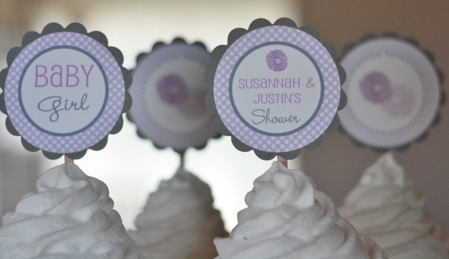 12 baby shower purple lavender grey dahlia flower cupcake or
