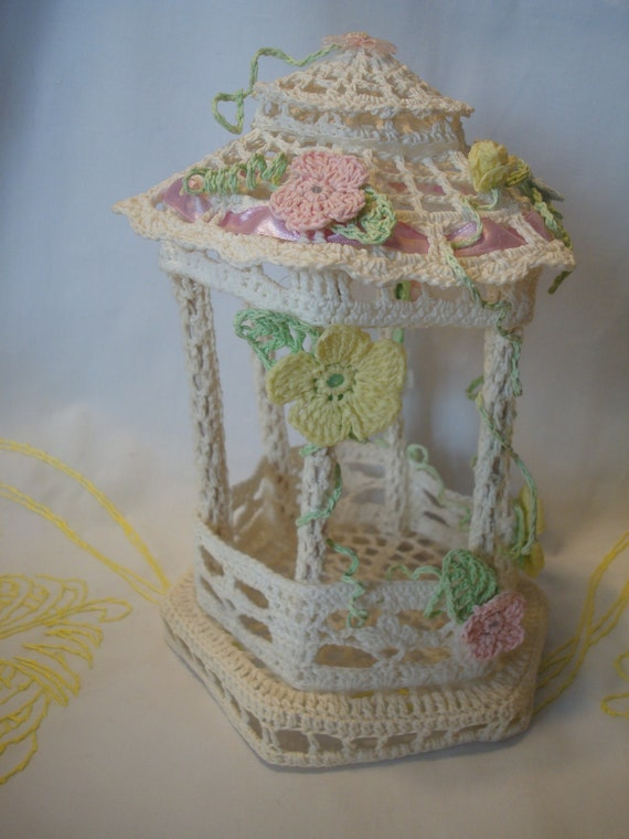 crochet wedding cake vintage crocheted wedding cake topper gazebo shower 13094