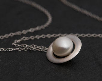 Pearl Necklace - Pearl Pendant -  White Pearl Pendant Necklace - Freshwater Pearl Necklace in Sterling silver - Bridal Wear - FREE SHIPPING