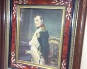 Etching dry print Napoleon Bonaparte late 1800s framed