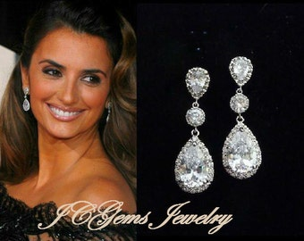 Bridal Earrings LARGE Clear White Peardrop Cubic Zirconia Round CZ Drop White Gold Plated Peardrop Cubic Zirconia Post Wedding Earring