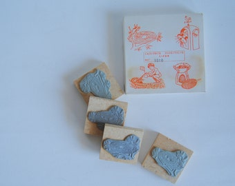 vintage - unique - gorgeous set of 4 WOODEN STAMPS - amazing illustrations (theme counting 1 to 4)