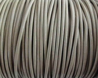10 Yard Increments 2mm Taupe Beige Genuine Leather Round Cord Beach Sand
