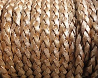 5 Yards Metallic Bronze Flat Braided Leather Cord - 5mm Wide
