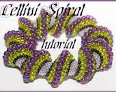 Cellini Spiral Twist tubural peyote Beading Pattern PDF bracelet or necklace beading pattern tutorial technique