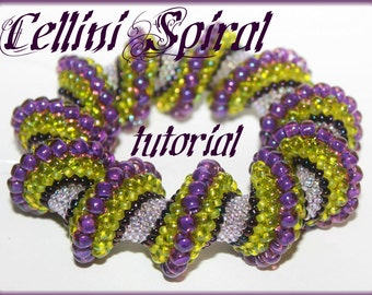 Cellini Spiral Twist tubural peyote Beading Pattern PDF bracelet or necklace beading pattern tutorial technique