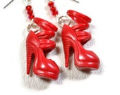 Heeled- 70's Vintage Barbie Earrings, Red Sandal High Heel Shoes - CamillaLimon