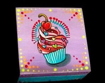 Cupcake  jewelry box with heart cherry, tattoo inspired ring box