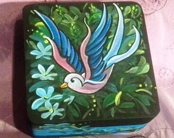 Tattoo inspired sparrow wooden box hand painted