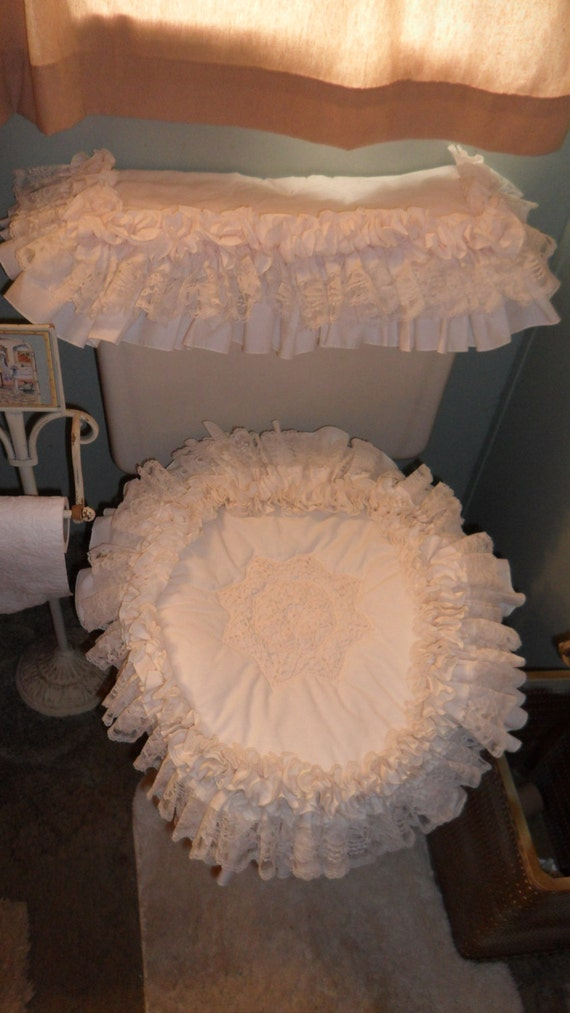 Fabulous Vintage Shabby Chic Romantic Toilet Cover Set Cream