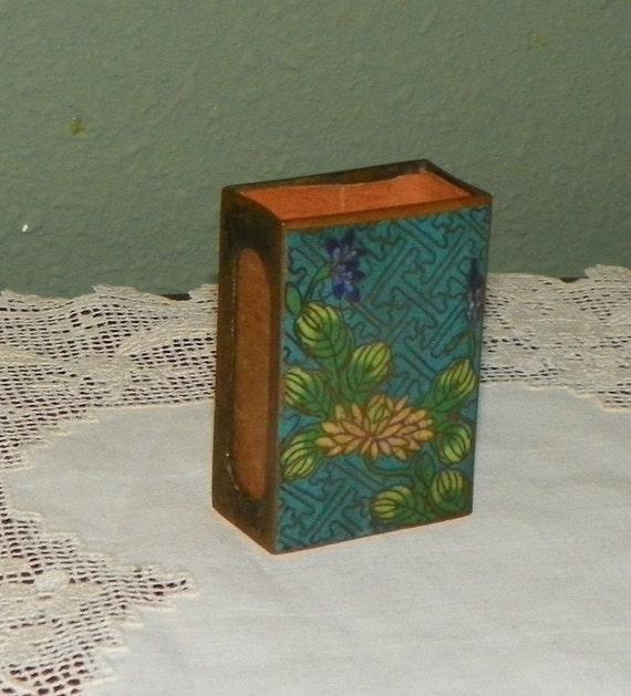 Antique Cloisonne Matchbook Cover Match Box Holder Case