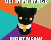 Business Cat Crochet Amigurumi Keychain - Reddit Internet Meme - Ready to Ship