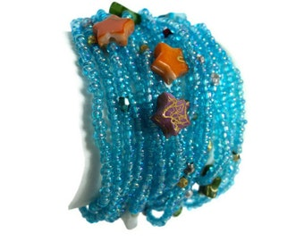 Blue Hawaii Bracelet, Multi-Colored Beads And Stones