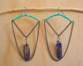 Quartz point and turquoise bead chain earrings