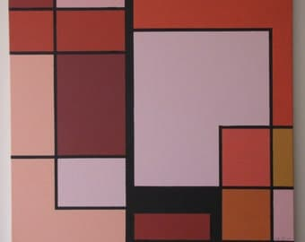 """Stunning Red De Stijl Giclee Art Print on Stretched Canvas (32"""" x 32"""") in the style of Mondrian, Signed by Hand"""