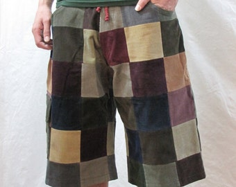 """Size 34"""" Men's Patchwork Corduroy Shorts"""